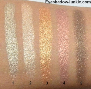Ardency Inn Eye Shadow 1 - Heaven 2 - Sunday 3 - Copper 4 - Rose Gold 5 - Vintage Gold