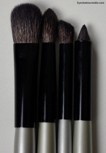 L to R: Eye Blender Brush Sheer Crease Brush Eye Contour Brush Smokie Lid Brush